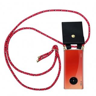 Cadorabo Handy Kette für Huawei MATE 30 PRO in PINK SCHWARZ WEISS GEPUNKTET - Silikon Necklace Umhänge Hülle mit Gold Ringen, Kordel Band Schnur und abnehmbarem Etui - Schutzhülle