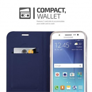Cadorabo Hülle für Samsung Galaxy J5 2015 in CLASSY DUNKEL BLAU - Handyhülle mit Magnetverschluss, Standfunktion und Kartenfach - Case Cover Schutzhülle Etui Tasche Book Klapp Style - Vorschau 3