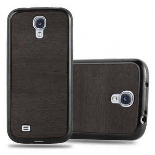 Cadorabo Hülle für Samsung Galaxy S4 in WOODEN SCHWARZ ? Handyhülle aus flexiblem TPU Silikon ? Silikonhülle Schutzhülle Ultra Slim Soft Back Cover Case Bumper