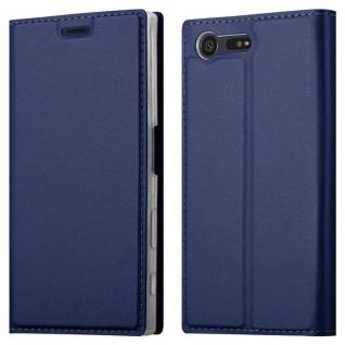 Cadorabo Hülle für Sony Xperia X COMPACT in CLASSY DUNKEL BLAU - Handyhülle mit Magnetverschluss, Standfunktion und Kartenfach - Case Cover Schutzhülle Etui Tasche Book Klapp Style