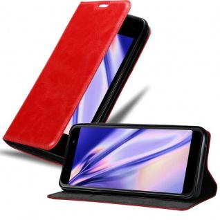 Cadorabo Hülle für WIKO LENNY 5 in APFEL ROT - Handyhülle mit Magnetverschluss, Standfunktion und Kartenfach - Case Cover Schutzhülle Etui Tasche Book Klapp Style