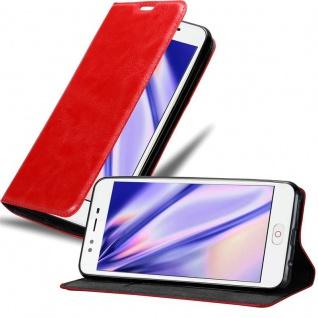 Cadorabo Hülle für ZTE Nubia M2 LITE in APFEL ROT - Handyhülle mit Magnetverschluss, Standfunktion und Kartenfach - Case Cover Schutzhülle Etui Tasche Book Klapp Style