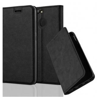 Cadorabo Hülle für Huawei NOVA 2 in NACHT SCHWARZ Handyhülle mit Magnetverschluss, Standfunktion und Kartenfach Case Cover Schutzhülle Etui Tasche Book Klapp Style