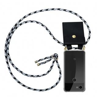 Cadorabo Handy Kette für Google Pixel 3a XL in SCHWARZ CAMOUFLAGE Silikon Necklace Umhänge Hülle mit Gold Ringen, Kordel Band Schnur und abnehmbarem Etui Schutzhülle