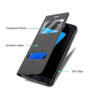Cadorabo Hülle für Samsung Galaxy S7 EDGE in KOMETEN SCHWARZ - Handyhülle mit Magnetverschluss, Standfunktion und 2 Sichtfenstern - Case Cover Schutzhülle Etui Tasche Book Klapp Style - Vorschau 3