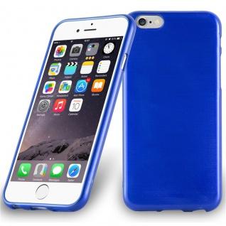 Cadorabo Hülle für Apple iPhone 6 PLUS / iPhone 6S PLUS - Hülle in BLAU ? Handyhülle aus TPU Silikon in gebürsteter Edelstahloptik (Brushed Design) - Ultra Slim Soft Backcover Case Bumper