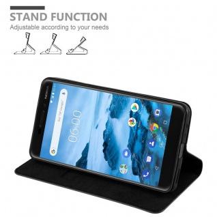 Cadorabo Hülle für Nokia 6.1 2018 in NACHT SCHWARZ - Handyhülle mit Magnetverschluss, Standfunktion und Kartenfach - Case Cover Schutzhülle Etui Tasche Book Klapp Style - Vorschau 5