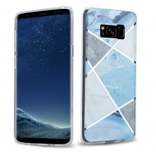 Cadorabo Hülle für Samsung Galaxy S8 PLUS Hülle in Blau weiß grau Marmor No.2 Handyhülle aus TPU Silikon mit Muster Mosaik Silikonhülle Schutzhülle Ultra Slim Back Cover Case Bumper