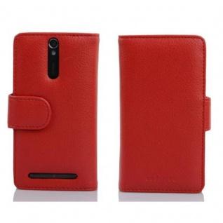Cadorabo Hülle für Sony Xperia S in INFERNO ROT - Handyhülle aus strukturiertem Kunstleder mit Standfunktion und Kartenfach - Case Cover Schutzhülle Etui Tasche Book Klapp Style - Vorschau 2