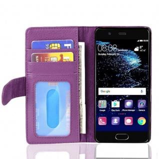 Cadorabo Hülle für Huawei P10 in BORDEAUX LILA ? Handyhülle mit Magnetverschluss und 3 Kartenfächern ? Case Cover Schutzhülle Etui Tasche Book Klapp Style