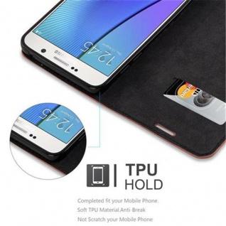Cadorabo Hülle für Samsung Galaxy NOTE 5 in CAPPUCCINO BRAUN - Handyhülle mit Magnetverschluss, Standfunktion und Kartenfach - Case Cover Schutzhülle Etui Tasche Book Klapp Style - Vorschau 3