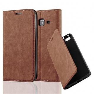 Cadorabo Hülle für Samsung Galaxy J3 2016 in CAPPUCCINO BRAUN - Handyhülle mit Magnetverschluss, Standfunktion und Kartenfach - Case Cover Schutzhülle Etui Tasche Book Klapp Style