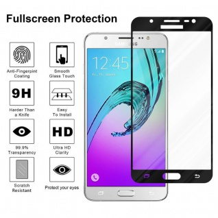 Cadorabo Vollbild Panzer Folie für Samsung Galaxy J5 2016 - Schutzfolie in TRANSPARENT mit SCHWARZ - Gehärtetes (Tempered) Display-Schutzglas in 9H Härte mit 3D Touch Kompatibilität - Vorschau 4