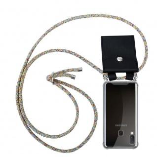 Cadorabo Handy Kette für Samsung Galaxy A20e in RAINBOW Silikon Necklace Umhänge Hülle mit Silber Ringen, Kordel Band Schnur und abnehmbarem Etui Schutzhülle