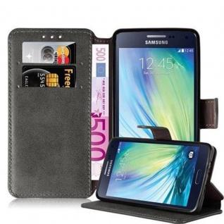 Cadorabo Hülle für Samsung Galaxy A5 2015 (5) - Hülle in MATT GRAU - Handyhülle mit Standfunktion und Kartenfach im Retro Design - Case Cover Schutzhülle Etui Tasche Book Klapp Style