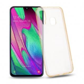 Cadorabo Hülle für Samsung Galaxy A40 - Hülle in TRANSPARENT GOLD ? Handyhülle aus TPU Silikon im Strass Design - Silikonhülle Schutzhülle Ultra Slim Soft Back Cover Case Bumper