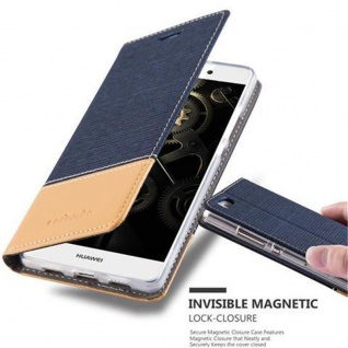 Cadorabo Hülle für Huawei P8 LITE 2015 in DUNKEL BLAU BRAUN - Handyhülle mit Magnetverschluss, Standfunktion und Kartenfach - Case Cover Schutzhülle Etui Tasche Book Klapp Style