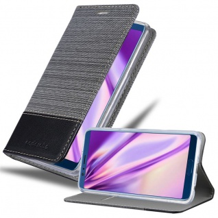 Cadorabo Hülle für Honor View 10 in GRAU SCHWARZ - Handyhülle mit Magnetverschluss, Standfunktion und Kartenfach - Case Cover Schutzhülle Etui Tasche Book Klapp Style