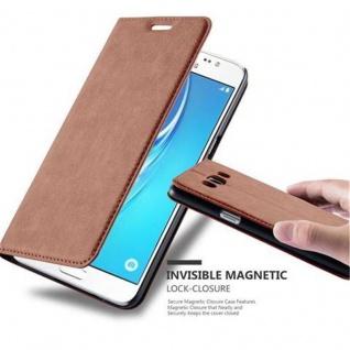 Cadorabo Hülle für Samsung Galaxy J5 2016 in CAPPUCCINO BRAUN - Handyhülle mit Magnetverschluss, Standfunktion und Kartenfach - Case Cover Schutzhülle Etui Tasche Book Klapp Style