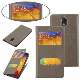 Cadorabo Hülle für Samsung Galaxy NOTE 3 in STEIN BRAUN ? Handyhülle mit Magnetverschluss, Standfunktion und 2 Sichtfenstern ? Case Cover Schutzhülle Etui Tasche Book Klapp Style - Vorschau 4
