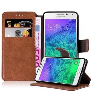 Cadorabo Hülle für Samsung Galaxy ALPHA - Hülle in MATT BRAUN - Handyhülle mit Standfunktion und Kartenfach im Retro Design - Case Cover Schutzhülle Etui Tasche Book Klapp Style