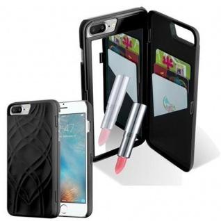 Cadorabo - TPU Hard Cover für Apple iPhone 8 PLUS / iPhone 7 PLUS / iPhone 7S PLUS mit Muster, Spiegel und 3 Kartenfächer ? Case Schutzhülle in SCHWARZ