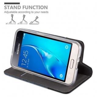 Cadorabo Hülle für Samsung Galaxy J1 2016 in DUNKEL BLAU SCHWARZ - Handyhülle mit Magnetverschluss, Standfunktion und Kartenfach - Case Cover Schutzhülle Etui Tasche Book Klapp Style - Vorschau 4