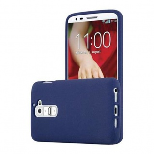 Cadorabo Hülle für LG G2 in FROST DUNKEL BLAU - Handyhülle aus flexiblem TPU Silikon - Silikonhülle Schutzhülle Ultra Slim Soft Back Cover Case Bumper