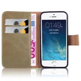 Cadorabo Hülle für Apple iPhone 5 / iPhone 5S / iPhone SE in CAPPUCCINO BRAUN ? Handyhülle mit Magnetverschluss, Standfunktion und Kartenfach ? Case Cover Schutzhülle Etui Tasche Book Klapp Style - Vorschau 3