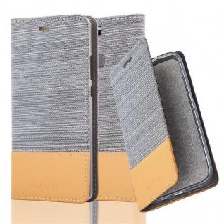 Cadorabo Hülle für Huawei ASCEND P9 PLUS in HELL GRAU BRAUN - Handyhülle mit Magnetverschluss, Standfunktion und Kartenfach - Case Cover Schutzhülle Etui Tasche Book Klapp Style