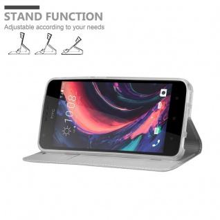 Cadorabo Hülle für HTC Desire 10 Lifestyle / Desire 825 in CLASSY SILBER - Handyhülle mit Magnetverschluss, Standfunktion und Kartenfach - Case Cover Schutzhülle Etui Tasche Book Klapp Style - Vorschau 4