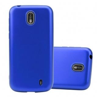 Cadorabo Hülle für Nokia 1 2017 in METALLIC BLAU - Handyhülle aus flexiblem TPU Silikon - Silikonhülle Schutzhülle Ultra Slim Soft Back Cover Case Bumper