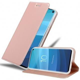 Cadorabo Hülle für Samsung Galaxy S10 in CLASSY ROSÉ GOLD Handyhülle mit Magnetverschluss, Standfunktion und Kartenfach Case Cover Schutzhülle Etui Tasche Book Klapp Style