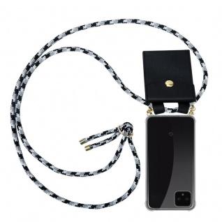 Cadorabo Handy Kette für Google Pixel 4 in SCHWARZ CAMOUFLAGE - Silikon Necklace Umhänge Hülle mit Gold Ringen, Kordel Band Schnur und abnehmbarem Etui ? Schutzhülle