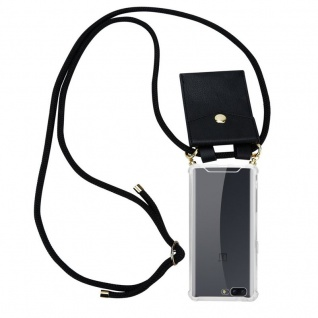 Cadorabo Handy Kette für OnePlus 5 in SCHWARZ ? Silikon Necklace Umhänge Hülle mit Gold Ringen, Kordel Band Schnur und abnehmbarem Etui ? Schutzhülle
