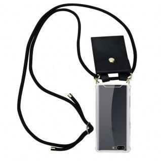 Cadorabo Handy Kette für OnePlus 5 in SCHWARZ Silikon Necklace Umhänge Hülle mit Gold Ringen, Kordel Band Schnur und abnehmbarem Etui Schutzhülle