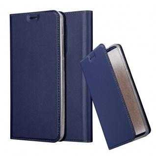 Cadorabo Hülle für WIKO VIEW XL in CLASSY DUNKEL BLAU Handyhülle mit Magnetverschluss, Standfunktion und Kartenfach Case Cover Schutzhülle Etui Tasche Book Klapp Style