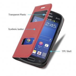 Cadorabo Hülle für Samsung Galaxy TREND LITE in SAFRAN ROT ? Handyhülle mit Magnetverschluss, Standfunktion und 2 Sichtfenstern ? Case Cover Schutzhülle Etui Tasche Book Klapp Style - Vorschau 3