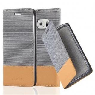 Cadorabo Hülle für Samsung Galaxy S6 EDGE in HELL GRAU BRAUN - Handyhülle mit Magnetverschluss, Standfunktion und Kartenfach - Case Cover Schutzhülle Etui Tasche Book Klapp Style