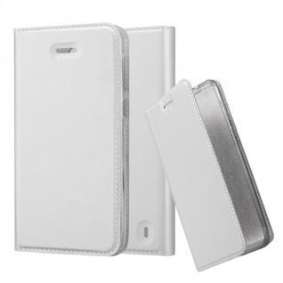 Cadorabo Hülle für Nokia 2 2017 in CLASSY SILBER Handyhülle mit Magnetverschluss, Standfunktion und Kartenfach Case Cover Schutzhülle Etui Tasche Book Klapp Style