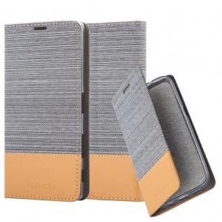 Cadorabo Hülle für Sony Xperia Z5 PREMIUM in HELL GRAU BRAUN - Handyhülle mit Magnetverschluss, Standfunktion und Kartenfach - Case Cover Schutzhülle Etui Tasche Book Klapp Style