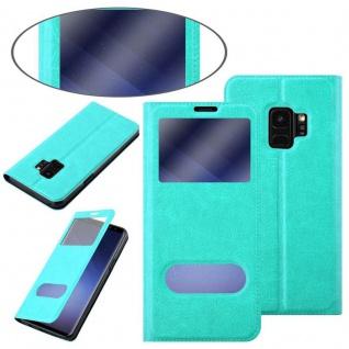 Cadorabo Hülle für Samsung Galaxy S9 in MINT TÜRKIS ? Handyhülle mit Magnetverschluss, Standfunktion und 2 Sichtfenstern ? Case Cover Schutzhülle Etui Tasche Book Klapp Style - Vorschau 3