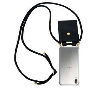Cadorabo Handy Kette für Sony Xperia L3 in SCHWARZ Silikon Necklace Umhänge Hülle mit Gold Ringen, Kordel Band Schnur und abnehmbarem Etui Schutzhülle