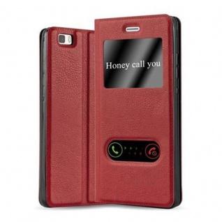 Cadorabo Hülle für Huawei P8 LITE 2015 in SAFRAN ROT - Handyhülle mit Magnetverschluss, Standfunktion und 2 Sichtfenstern - Case Cover Schutzhülle Etui Tasche Book Klapp Style