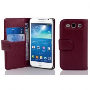 Cadorabo Hülle für Samsung Galaxy EXPRESS 2 in BORDEAUX LILA - Handyhülle aus strukturiertem Kunstleder mit Standfunktion und Kartenfach - Case Cover Schutzhülle Etui Tasche Book Klapp Style