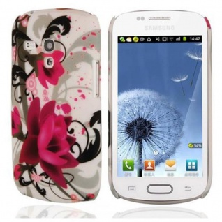 Cadorabo Hülle für Samsung Galaxy S3 MINI - Hülle im Design ROTE ROSE ? Hardcase Handyhülle mit Aufdruck - Schutzhülle Bumper Back Case Cover