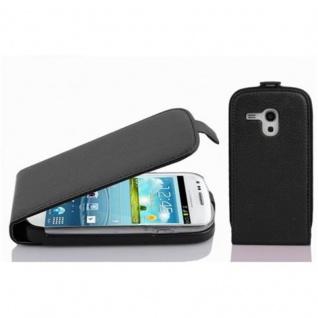 Cadorabo Hülle für Samsung Galaxy S3 MINI in OXID SCHWARZ - Handyhülle im Flip Design aus strukturiertem Kunstleder - Case Cover Schutzhülle Etui Tasche Book Klapp Style