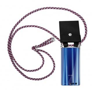 Cadorabo Handy Kette für Honor 9 in ROT WEISS Silikon Necklace Umhänge Hülle mit Silber Ringen, Kordel Band Schnur und abnehmbarem Etui Schutzhülle