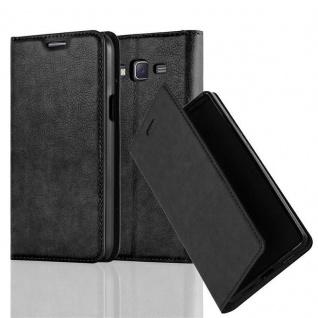 Cadorabo Hülle für Samsung Galaxy J7 2015 in NACHT SCHWARZ - Handyhülle mit Magnetverschluss, Standfunktion und Kartenfach - Case Cover Schutzhülle Etui Tasche Book Klapp Style