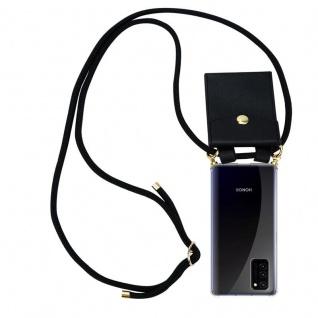 Cadorabo Handy Kette für Honor View 30 in SCHWARZ Silikon Necklace Umhänge Hülle mit Gold Ringen, Kordel Band Schnur und abnehmbarem Etui Schutzhülle